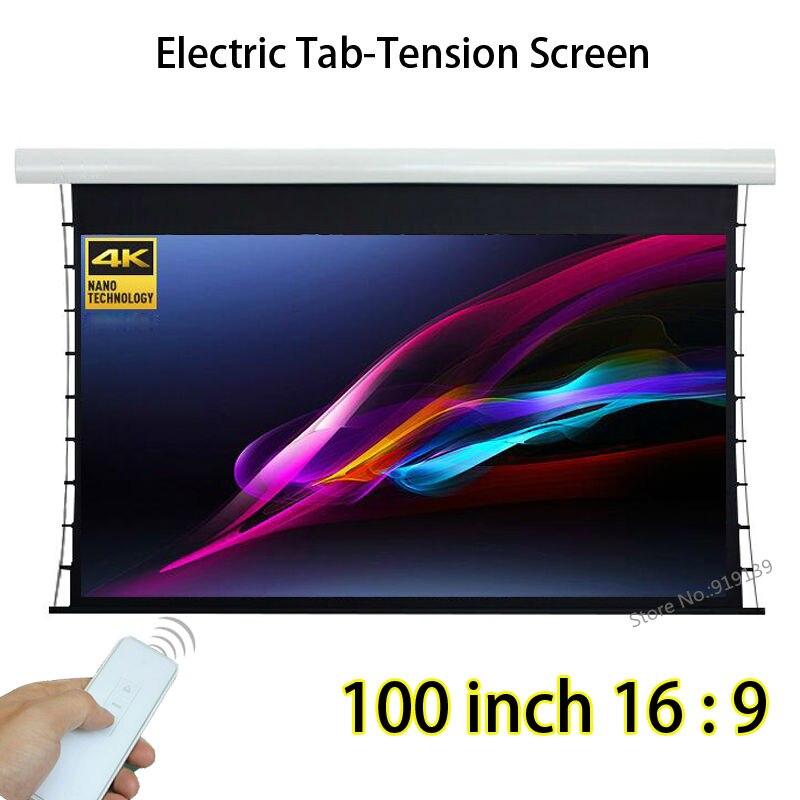 Моторизованный трубчатый мотор 16:9 Диагональ 100 Tab-tension белый стекловолокно проекционный экран совместимый К для 4 K проектор