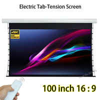 "Motorised Tubular Motor 100"" Diagonal 16:9 Tab-tension White Fiberglass Projection Screen Compatible For 4K Projector"