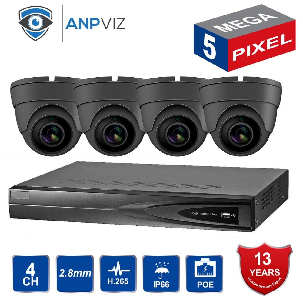 2019 NEW NVR KITS 4CH Video Surveillance Set 5.0 MP Metal IP Camera Indoor 4CH 5MP POE NVR CCTV Kit Email Alarm Night Vision image