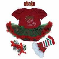 Autumn Baby Girl Party Dress Christmas Newborn Clothing Headband Set Shoe Rhinestone Infantil Menina Dress Set