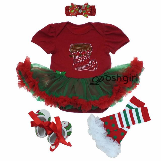 Otoño Niña Vestido de Fiesta de Navidad Recién Nacido Ropa Conjunto Diadema Rhinestone Zapato Infantil Menina Vestido Set 1 año Equipo de Navidad