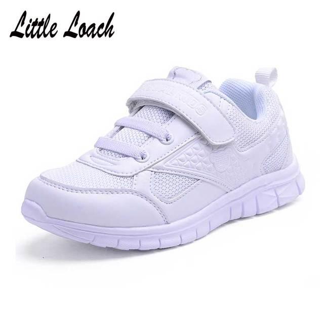 Laki-laki Perempuan Sepatu Putih Ukuran 26-37 Sekolah Remaja Sepatu  Olahraga Anak Trainers b00e43d611