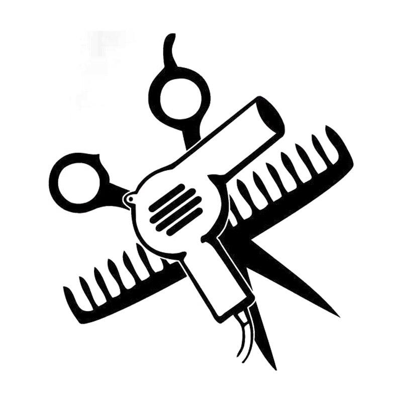 14cm*15.5cm Hair Dryer Mirror Scissors Comb Car Sticker