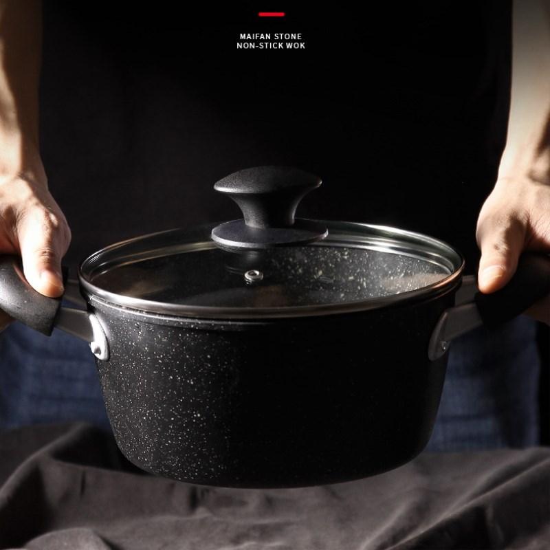 22CM Binaural Pot à soupe antiadhésif cuiseur nouilles Pot épaississement approfondissement riz pierre Pot riz Pan cuisine fournitures