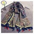 1 UNID 180*100 CM 2016 Nuevo Diseño de Acrílico de Moda Estilo Coreano Algodón de Las Mujeres de Las Borlas Bufanda Mujer Nueva Viscosa algodón Pashminas