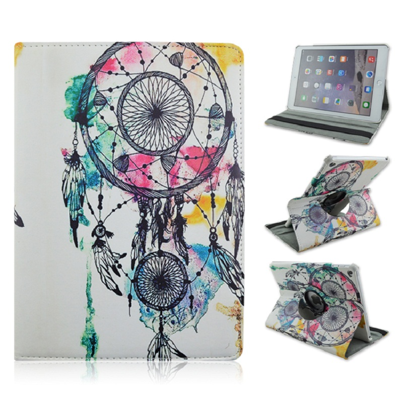 Foldable PU Leather Pad Cover with Wind Chimes Style Support 360 Degrees Rotation for iPad Air 2 Pro 9.7 foldable pu leather pad cover with flower girl driving style inlaid diamond support stand for ipad mini 3