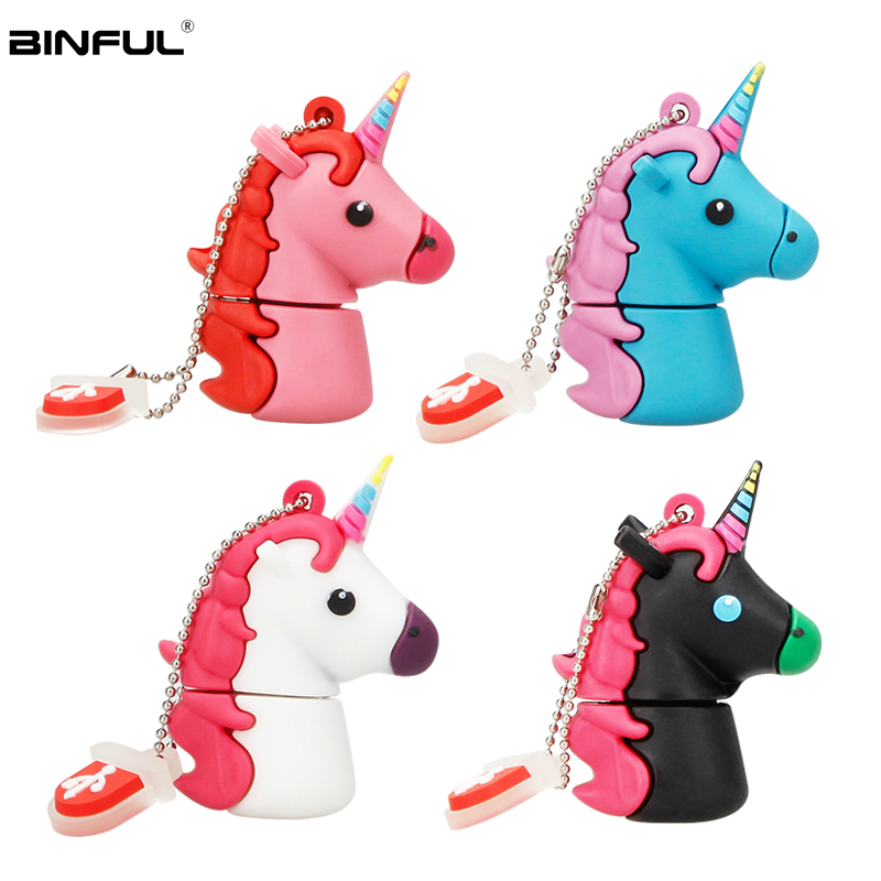 Image 2 - Silicone Cartoon Unicorn Usb Flash Drive 128GB 64GB 32GB Pen Drive Usb 2.0 16GB 8GB 4GB Flash Memory Portable Thumbdrives U Disk-in USB Flash Drives from Computer & Office