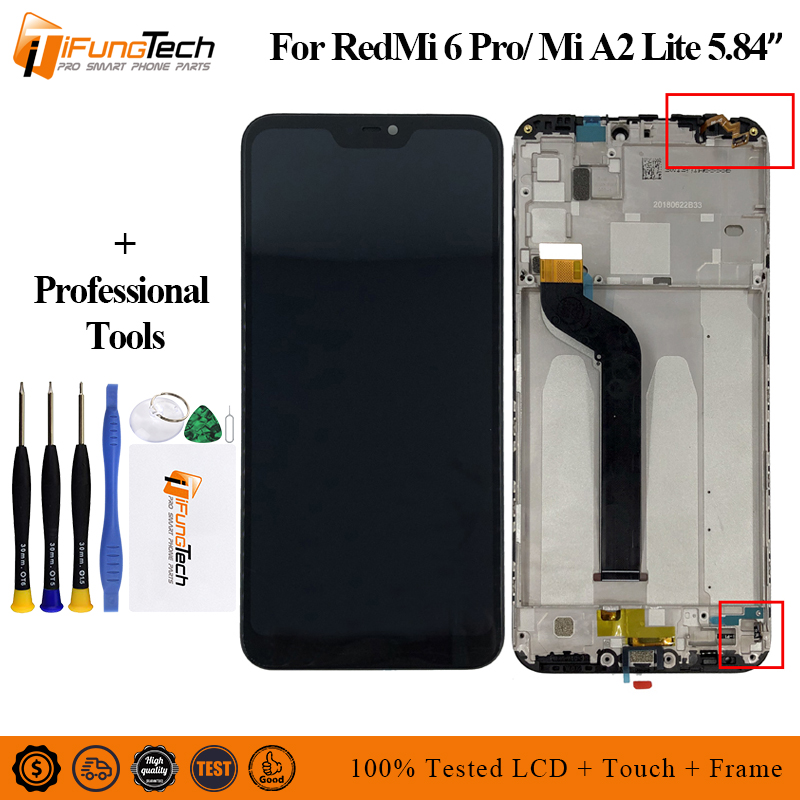 5.84 AAA Quality IPS LCD+Frame For Xiaomi Mi A2 Lite LCD Display Screen Replacement Redmi 6 Pro 2280*1080 Resolution