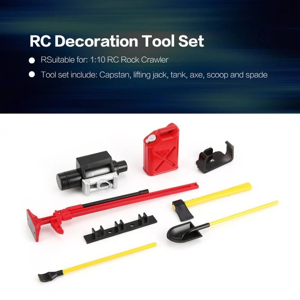 6Pcs RC Rock Crawler Decoration Tools Kit for 1//10 SCX10 D90 RC Accessories
