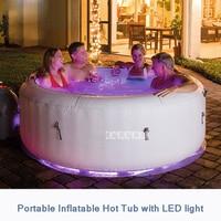 Inflatable Bathtub 196*66cm Round Adult Bath Tub Portable Bathroom Family Spa Pool 806L 220V 2060W With 7 Colors LED Light