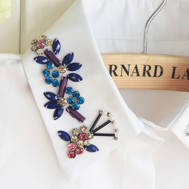 Women Shirt Fake Collar Färgglada Diamanter Avtagbar False Collar - Kläder tillbehör - Foto 3