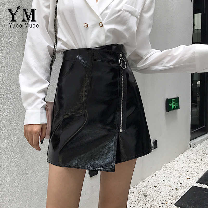 d275494dede5d6 ... YuooMuoo Sexy High Waist PU Leather Skirt Women Slim Zipper Pocket Skirts  Womens Spring Autumn Elegant ...