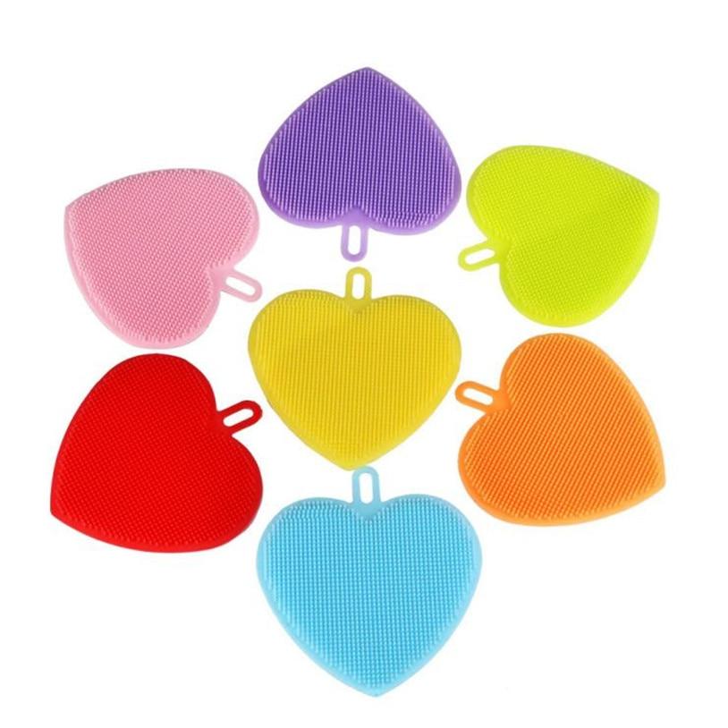 Household Cleaning Tool Heart Shape Silicone Brush Wash Bowl Soft Environmental u71031