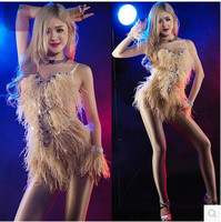 2017DJ Rhinestone Bodysuit Ostrich Feather Dance Costume Singer Clothing Sexy Stage Costumes for Singers DS Performance clothes