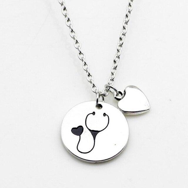 Aliexpress buy 2018 nurse heart stethoscope pendant necklace 2018 nurse heart stethoscope pendant necklace christmas vet graduation gift jewelry for doctor medical student aloadofball Choice Image