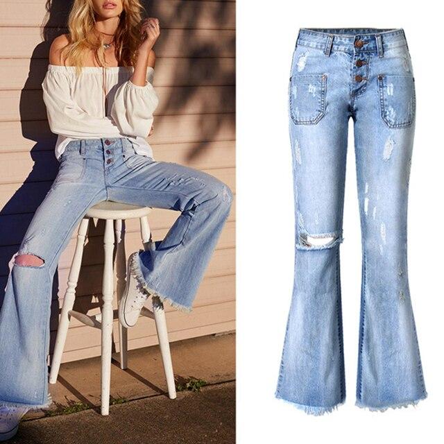Schöne Neue Trendige Mode Frauen Löcher Ripped Enge Jeans Jeanshosen