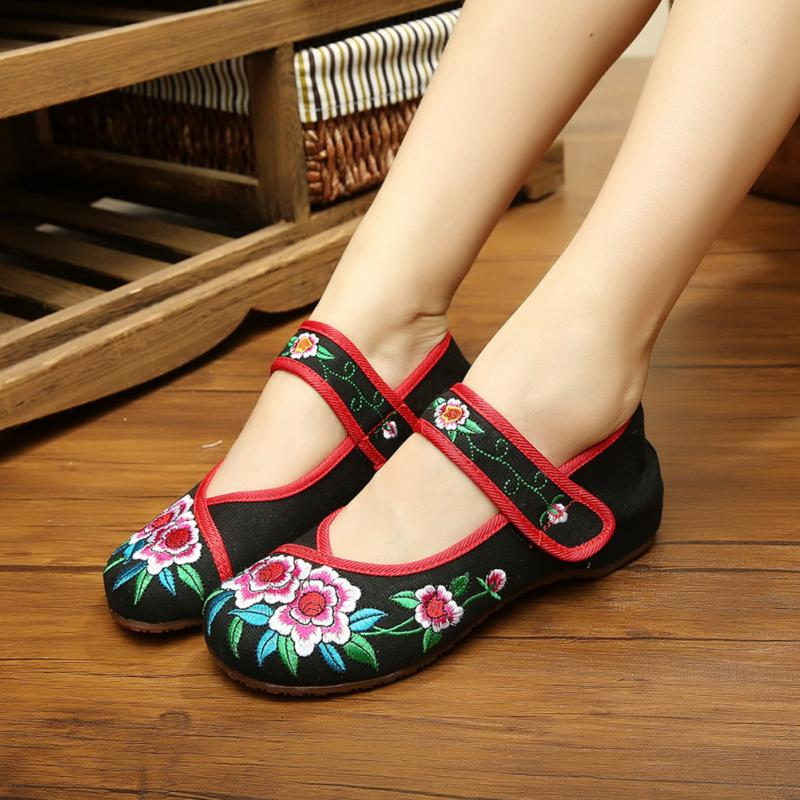 Plus Size 34-41 Fashion Women Shoes, Old Beijing Mary Jane Flats With Casual Shoes, Chinese Style Embroidered Cloth shoes woman vintage pumps spring autumn old beijing embroidery cloth shoes fairy girl embroidered national han chinese women s shoes