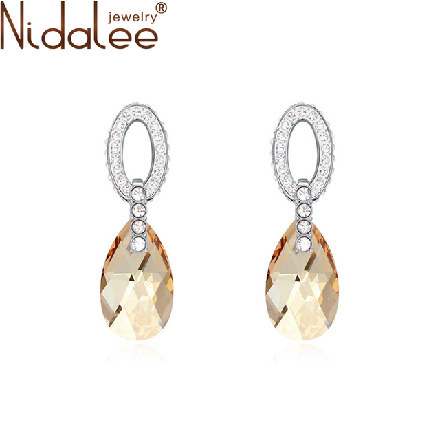 Nidalee 2017 projeto gotas de água de cristal brincos para mulheres brincos de jóias de casamento de cristal de swarovski acessórios hot b1207