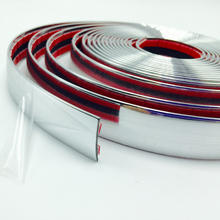 free shipping NEW 25MM x 5M Universal Car SIDE Trim Molding Interior CHROME Silver Strip Styling Decoration 16ft