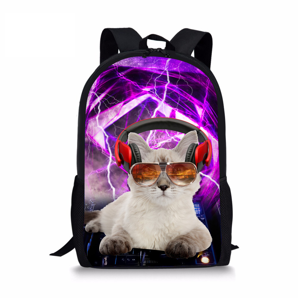 NOISYDESIGNS Punk Cat Schoolbag Backpack Student Satchel For Teenager Boys Rucksack Kids ...