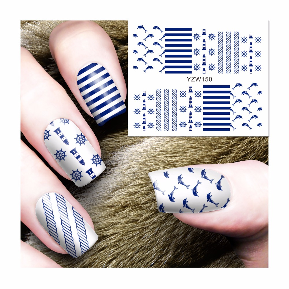 ZKO 1 Sheet Water Transfer Nail Art Stickers Naval Style Designs Decals For Nails Tips Decoration DIY Nail Art Accessories 150 nail art water transfer stickers christmas style mix santa claus bell gift angel etc12 design decals christmas decoration set