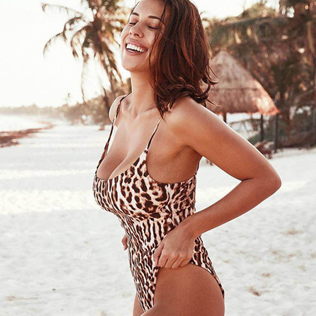 637cf633ca8 Strappy leopard print one piece swimsuit women high waist swimwear Push up  sexy bathing suits body