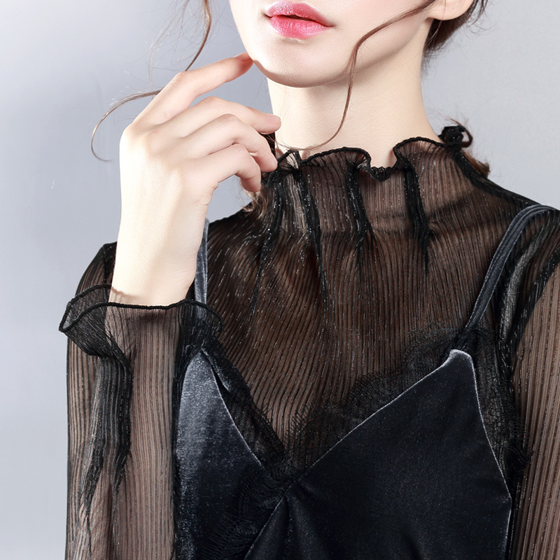 Elegant Ruffle OL Sexy Women   Blouses   See Through Transparent Mesh Stand Neck Long Sleeve Sheer   Blouse     Shirt   Ladies Tops Solid