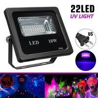 Işıklar ve Aydınlatma'ten Işıldaklar'de Smuxi 10W UV projektörler su geçirmez siyah ışık parti Neon aydınlatma DJ gece kulübü siyah işık abd Plug AC90 265V seti