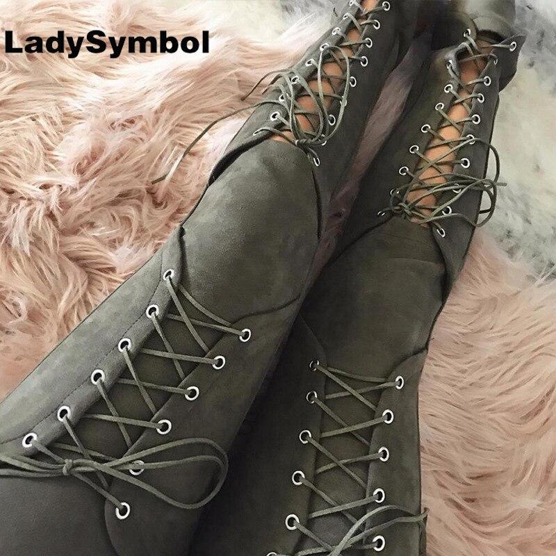 Ladysymbol otoño sexy mujeres Encaje up Faux Suede estiramiento bodycon lápiz Pantalones Hollow out invierno mujer alta cintura vendaje Pantalones