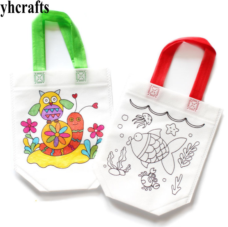 2PCS/LOT.Panit unfinished felt bag Shopping bag Drawing toy Early educational toys Kindergarten arts and crafts Candy bag OEM