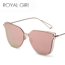 ROYAL GIRL Fashion Sunglasses Women Metal Frame Brand Designer Glasses Vintage Coating Mirror Flat Panel Lens Shades UV400 SS341