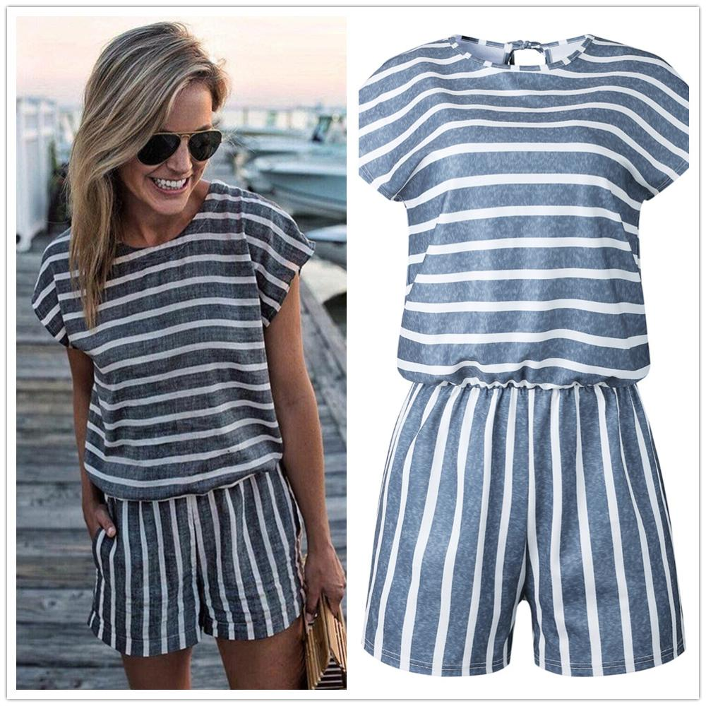 Casual Striped O Neck Short Sleeve Playsuit Summer Elastic Waist Slim Back Lace Up Women Jumpsuits Female Streetwear Overalls