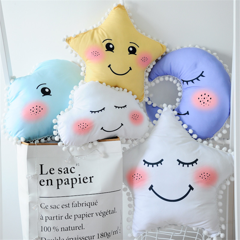 cute Sky Series Pillow Stuffed Moon, Star and Clouds Plush Toys Soft Cushion Nice baby sleeping Pillow creative clouds and person pattern square shape flax pillowcase without pillow inner