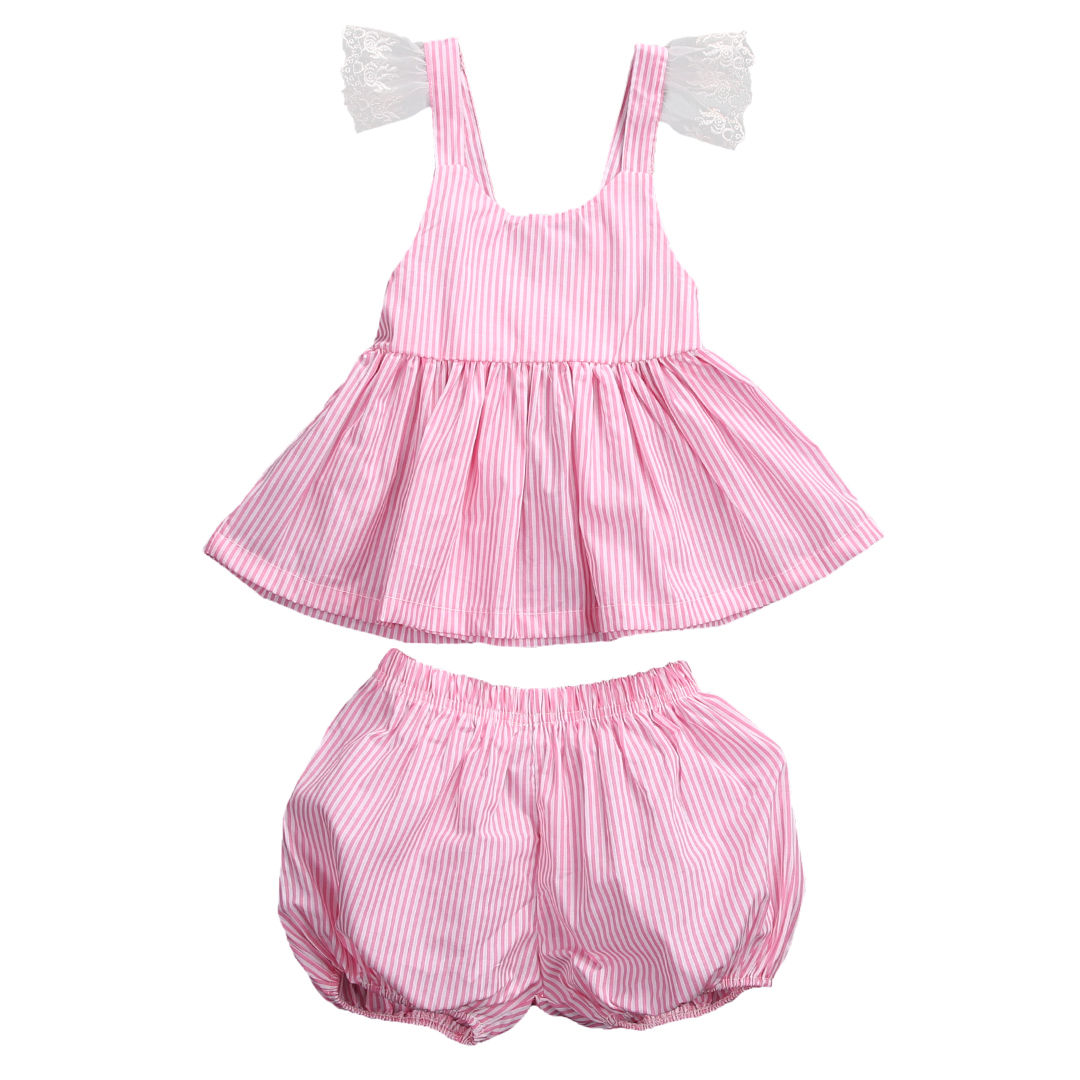 2017 New arrival Summer Baby Girls clothes sleevless lace striped Tops T-shirt + Shorts Outfits baby clothes set 0-3years 2pcs ruffles newborn baby clothes 2017 summer princess girls floral dress tops baby bloomers shorts bottom outfits sunsuit 0 24m