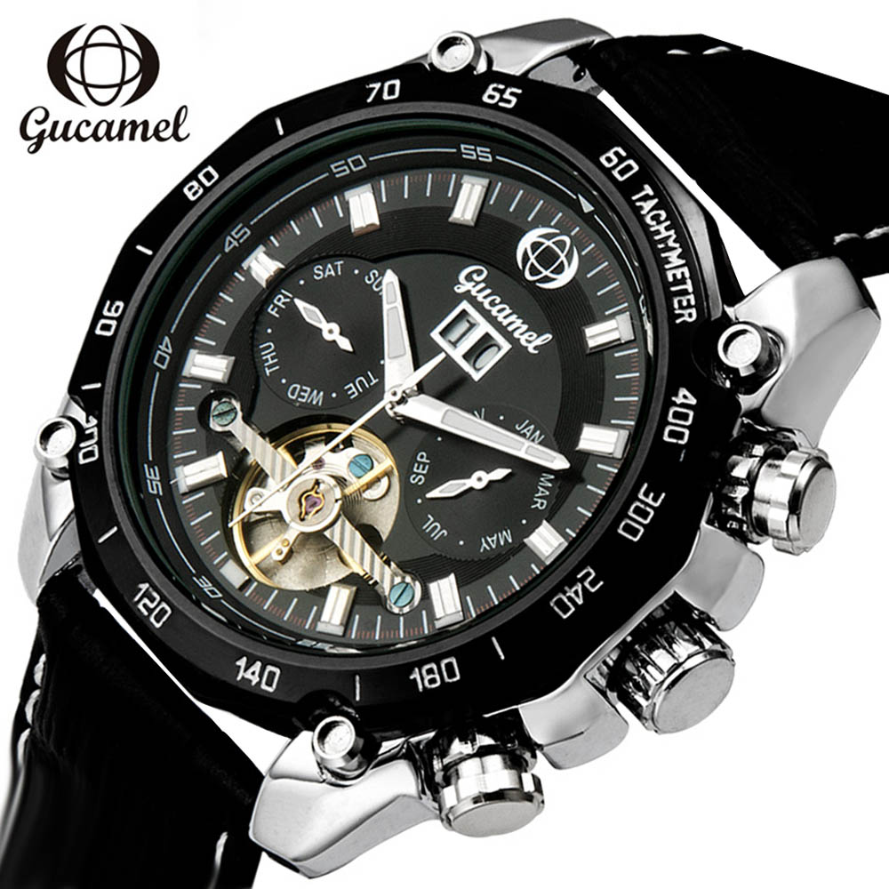 GUCAMEL Tourbillon Wrap Mens Watches Top Brand Luxury Automatic Watch Black Calendar Male Clock Black Mechanical Watch Hodinky ultra luxury 2 3 5 modes german motor watch winder white color wooden black pu leater inside automatic watch winder