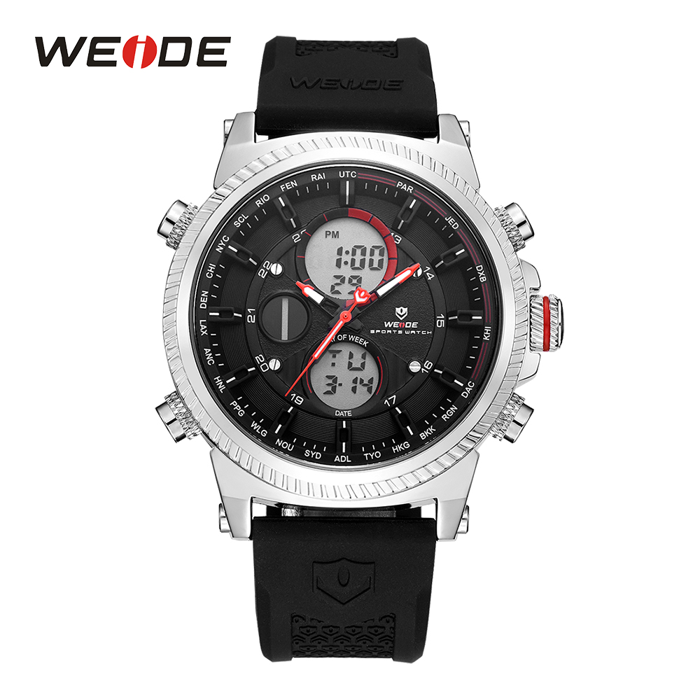 WEIDE Mens Sport Watch Quartz Chronograph Digital LCD Auto Date Day Alarm Silicone Band Strap Buckle Outdoor Men Wristwatches hoska hd030b children quartz digital watch