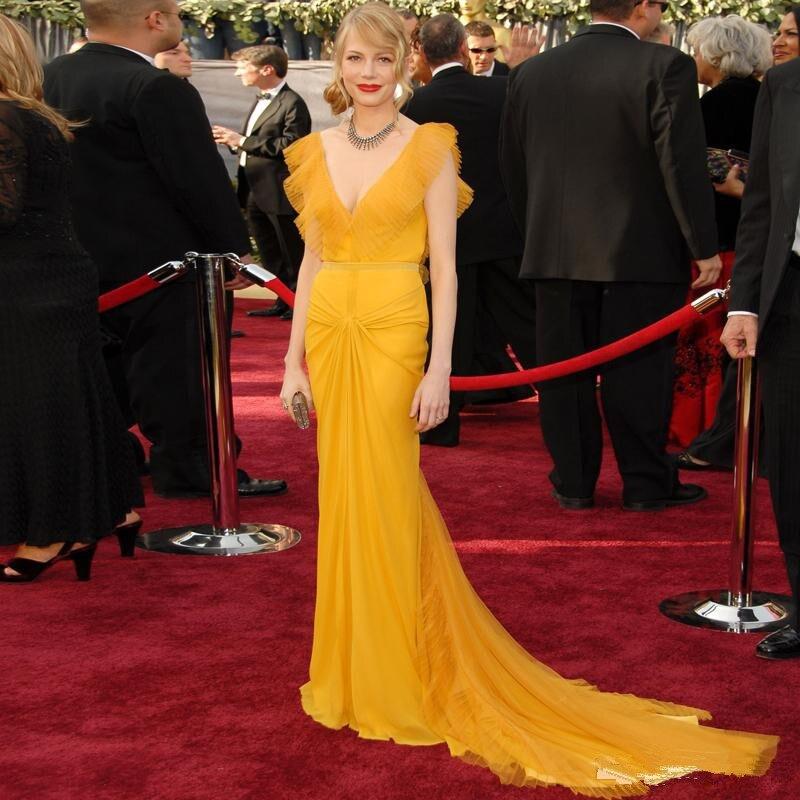 Auf Verkauf Gelb Tüll Meerjungfrau Promi-kleider V-ausschnitt Geraffte Falten Prom Kleider Flügelärmeln Bodenlangen Lange Abendkleider