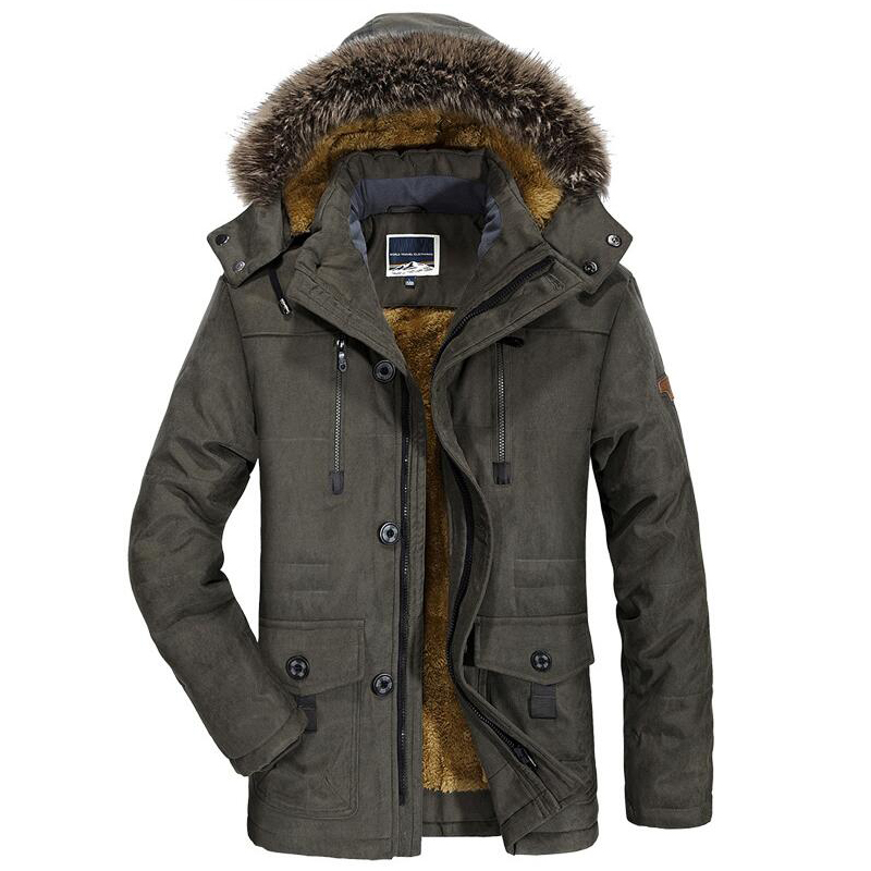 Mens New Fashion Winter Jacket Men Thick Casual Outwear Jackets Men's Fur Collar Windproof Parkas Plus Size 6XL Velvet Warm Coat(China)