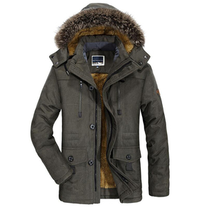 Image 1 - Mens New Fashion Winter Jacket Men Thick Casual Outwear Jackets Mens Fur Collar Windproof Parkas Plus Size 6XL Velvet Warm Coat