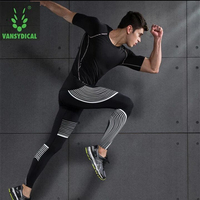 Muscle Men Long Sleeve Compression Shirt Pants Set Running Tight Top Fitness Gym Base Layer Leggings