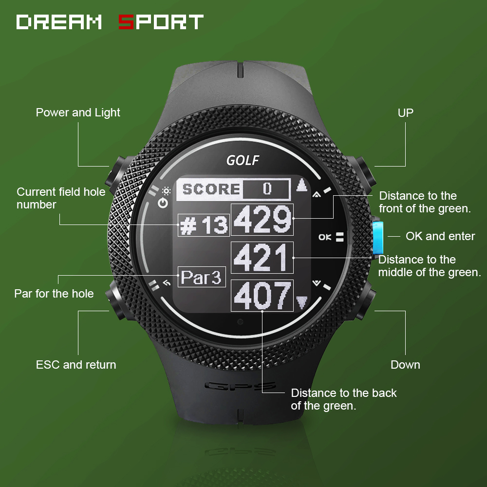 Dream Sport Golf Watches with GPS Men,40000+Worldwide Golf Courses, Golf Buddy for ,Free Worldwide Courses Update in Real Time