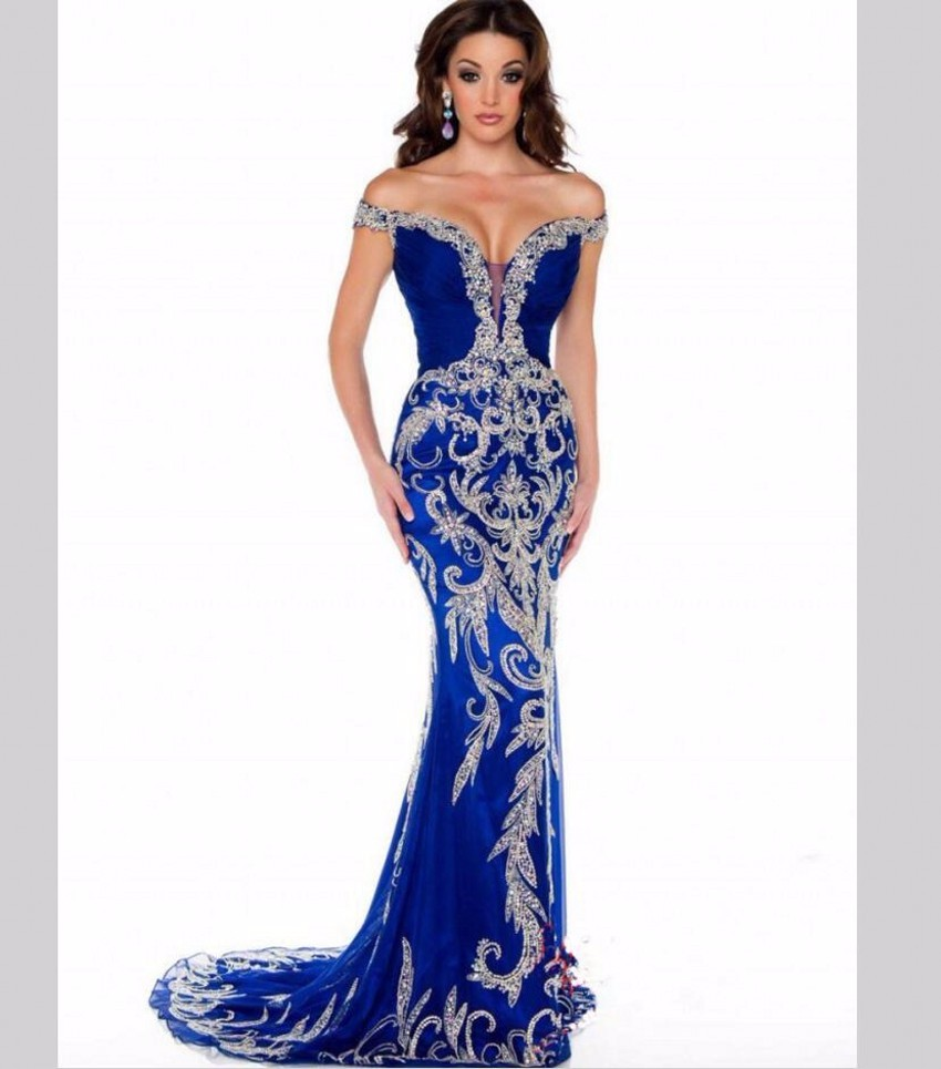 2016 mermaid gown royal blue Arabic Kaftan dubai embroidery pearl at night in New York a formal party dress FG45 for a long time