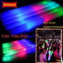 100 개/몫 다채로운 거품 스틱 LED 글로우 스틱 형광 글로우 랠리 레이브 치어 리더 튜브 배턴 완드 파티 축제 라이트 스틱