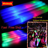 100Pcs Lot Colorful Foam Stick LED Glow Stick Fluorescent Glow Rally Rave Cheer Tube Baton Wands
