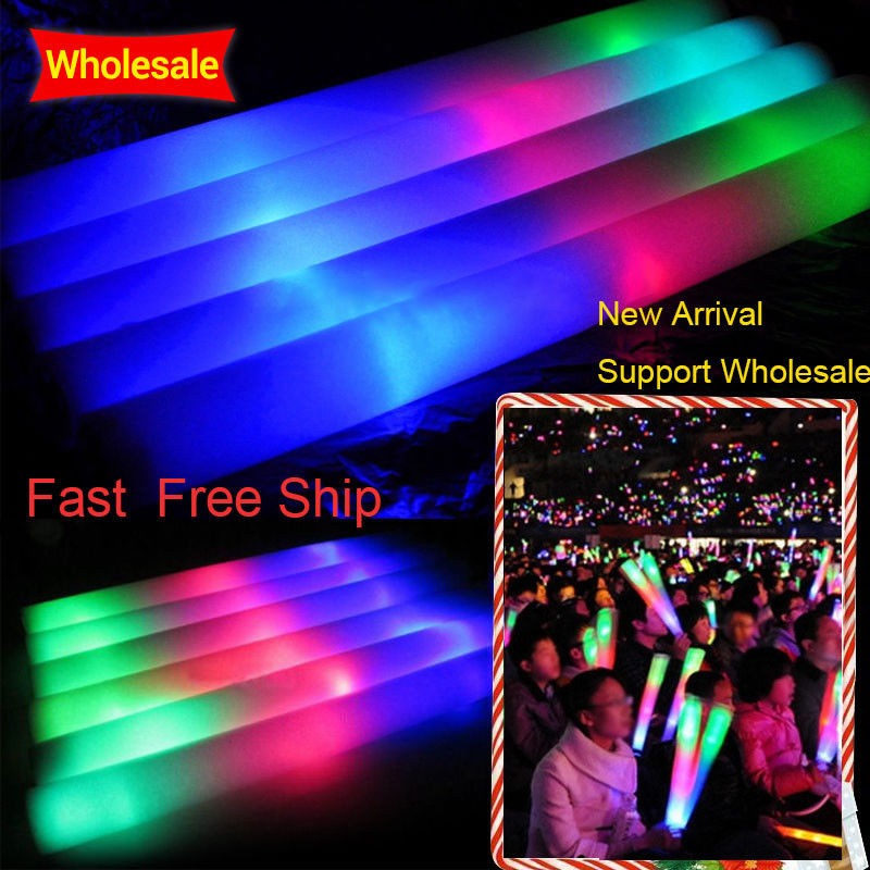 100Pcs/Lot Colorful Foam Stick LED Glow Stick Fluorescent Glow Rally Rave Cheer Tube  Baton Wands Party Festival Light Stick