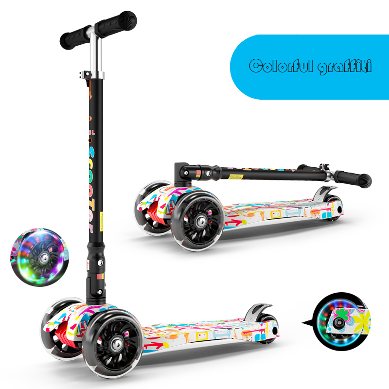 Infant Shining Scooter children to the 2-3-6-10 years old children three round folding scooters flash slide block toys free shipping scooter children 2 15 years old max load 60kg