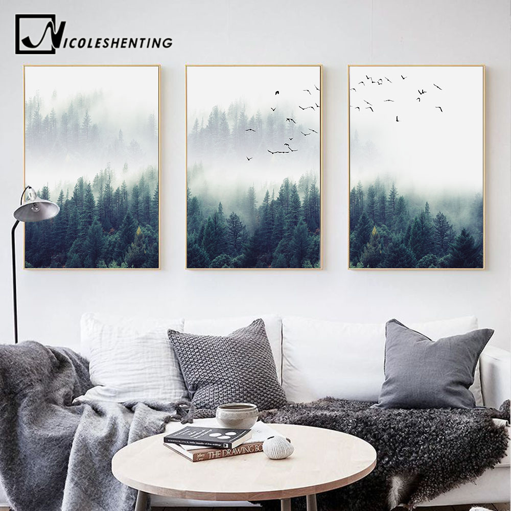 Nordic Decoration Forest Lanscape Wall Art Canvas Poster and Print Canvas Painting Decorative Picture for Living Room Home Decor forest floral deer print tapestry wall hanging art