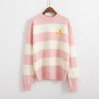 Women's Sweaters Kawaii Ulzzang College Candy Color Stripes Moon Sets Embroidery Sweater Female Harajuku Clothing For Women Lady 8