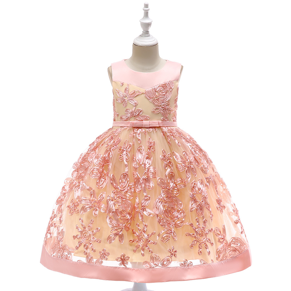 2019   Girls   Pleated Mesh Cutout Back   Flower     Girl     Dress   Knee-Length Splice Shoulder Straps Sleeveless Wedding Party   Dress