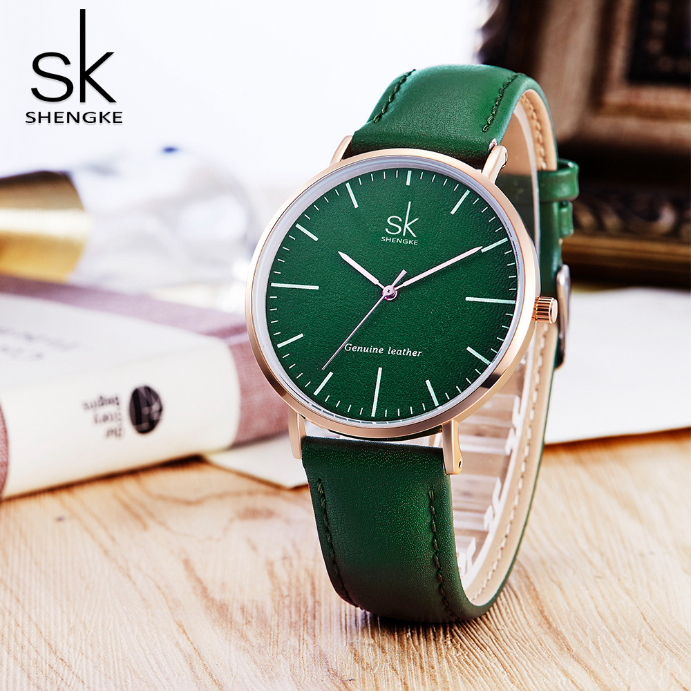 2018 New Luxury Women Watches Shengke Genuine Leather Quartz Watch Women Fashion Simple Wrist Watch Clock for Gift Reloj Mujer